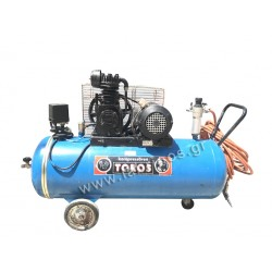 Air compressor 1.5Hp - 100 liters TOROS, with belt & cooling with oil.
